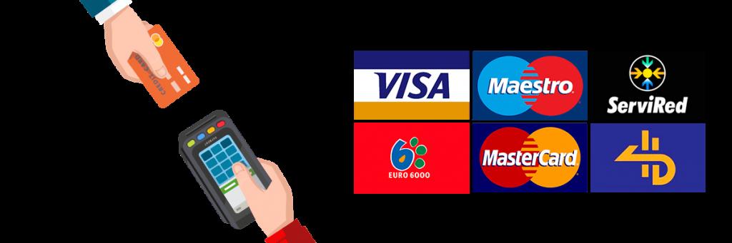 Visa, Maestro, Master Card, Servired...